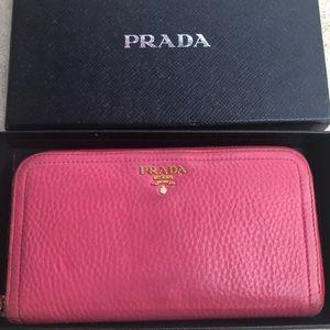 Prada Pink Leather Zippy Wallet